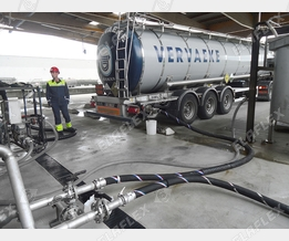 Unloading chemical road tanker